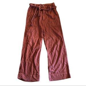 Free People Linen Pants Brown Wide Leg Cropped 4